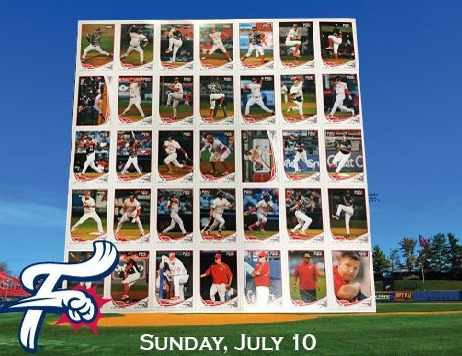 baseball card sheet - reading fightin phils - 7-10-2016