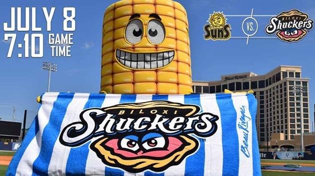 beach towel - biloxi shuckers - 7-8-2016