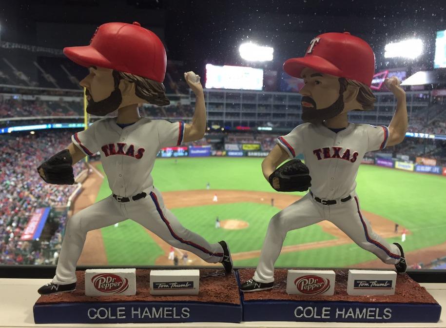 cole hamels bobblehead - texas rangers - 7-10-2016