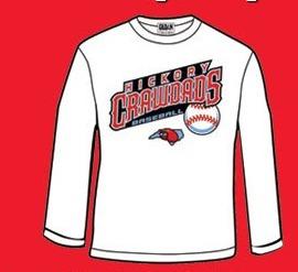 long sleeve t-shirt - hickory crawdads - 7-2-2016