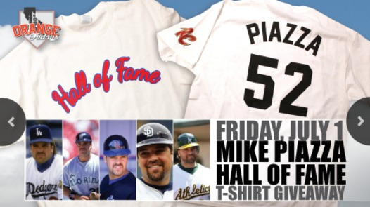 mike piazza hall of fame tshirt - sacramento river cats - 7-1-2016