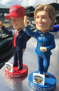 trump and clinton bobbleheads - charleston riverdogs - 8-23-2016