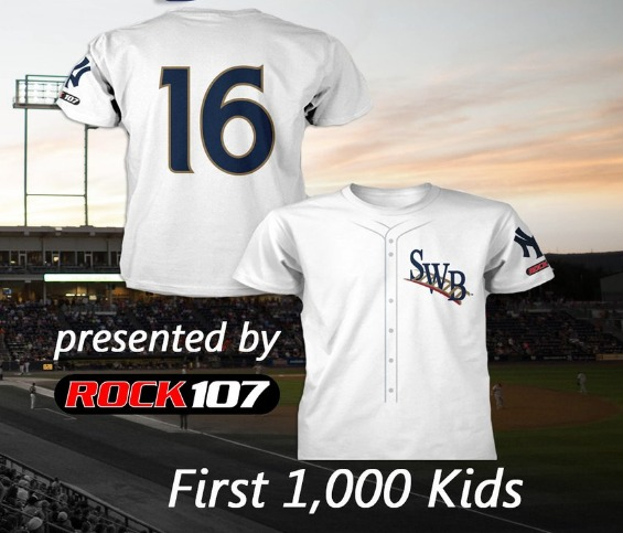 youth replica jersey tshirt - swb railriders - 7-9-2016