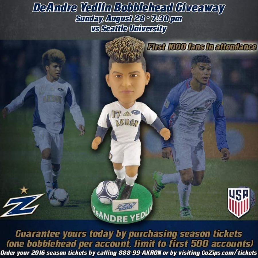 DeAndre Yelding Bobblehead - University of Akron NCAA Men's Soccer - 8-28-2016