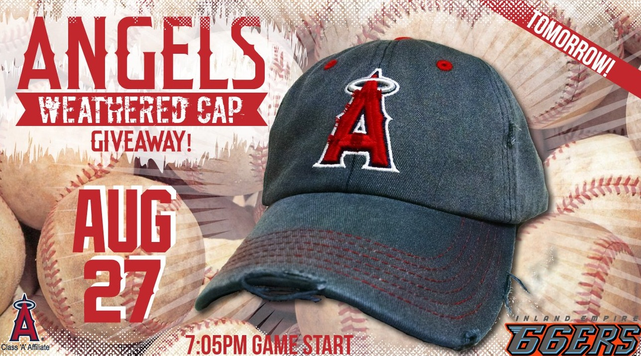 angels weathered cap - inland empire 66ers - 8-27-2016