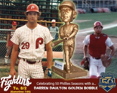 darren daulton golden bobblehead - reading fightin phils - 8-2-2016