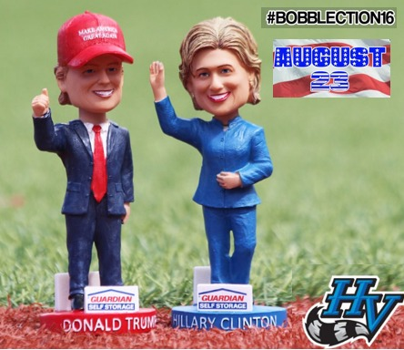 trump and clinton bobbleheads - hudson valley renegades - 8-23-2016