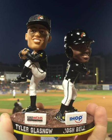 tyler glasnow and josh bell bobblehead - west virginia power - 8-28-2016