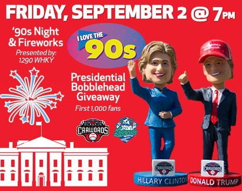 trump and clinton bobbleheads - hickory crawdads - 9-2-2016