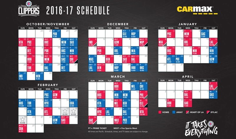 November 2, 2016 Los Angeles Clippers - Magnet Schedule