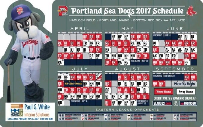 Portland Sea Dogs 2017 Promotional Stadium Giveaways