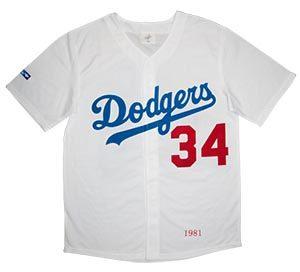 Los Angeles Dodgers  34 Fernando Valenzuela Majestic 1981WSPatch sewn Jersey  MEN ea784295983