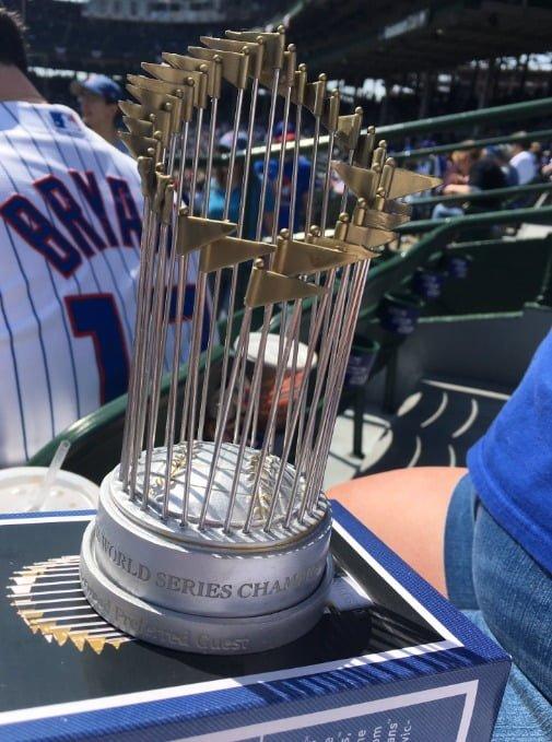 April 15 2017 Chicago Cubs Replica World Series Trophy Stadium Giveaway Exchange