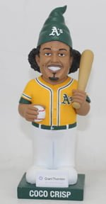 oakland athletics crispgnome 6 22 2014 June 22, 2014 Boston Red Sox vs Oakland Athletics Coco Crisp Garden Gnome