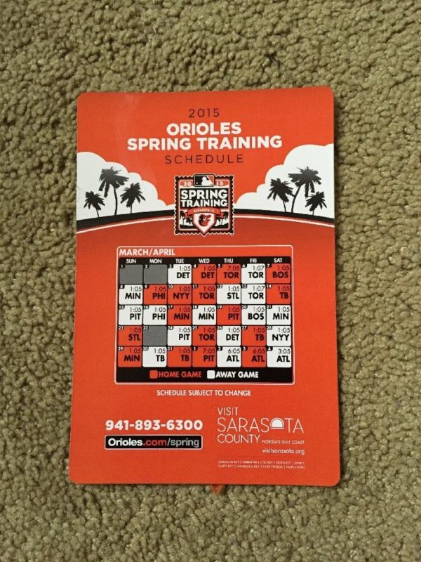 Orioles Spring Training Schedule 2019 March 4, 2015 Baltimore Orioles vs. Detroit Tigers   Opening Day