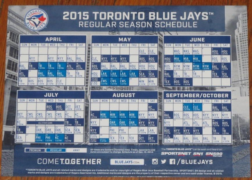 Blue jays schedule