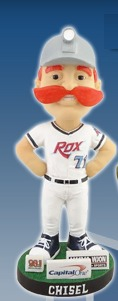 chisel mascot bobblehead - st cloud rox - northwoods league