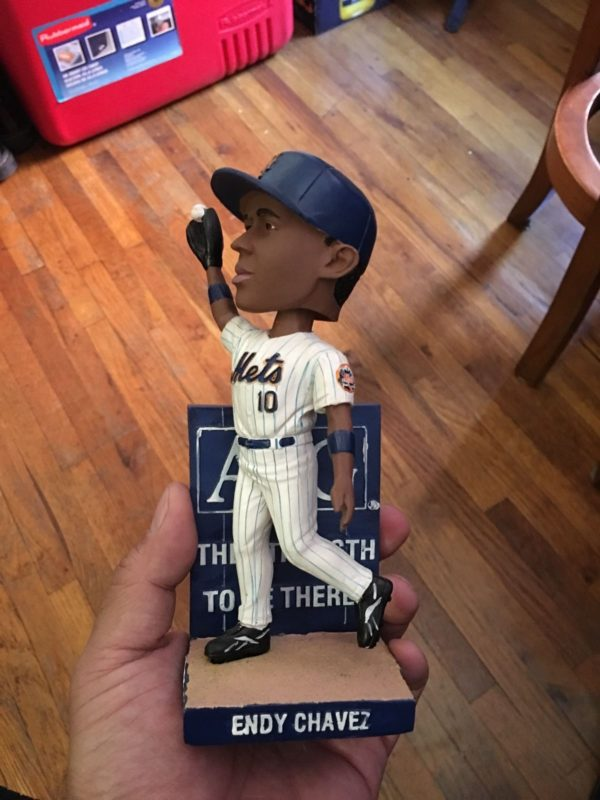 Endy Chavez Mets Wall Catch Bobblehead