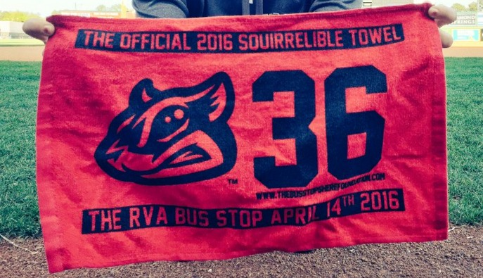 rally towel - richmond flying squirrels - 4-14-2016