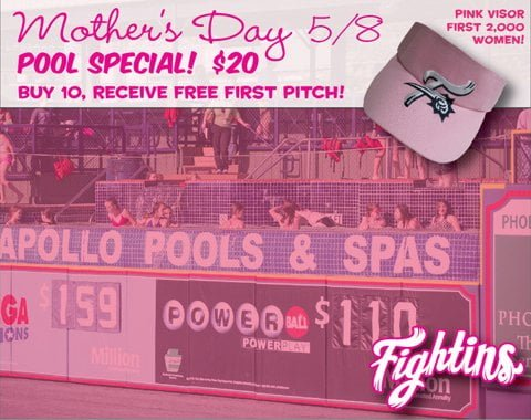 Reading Fightin Mother's Day Pink Visor 5-8-2016