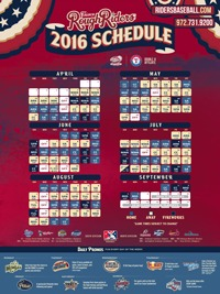 schedule poster - frisco roughriders - 4-17-2016