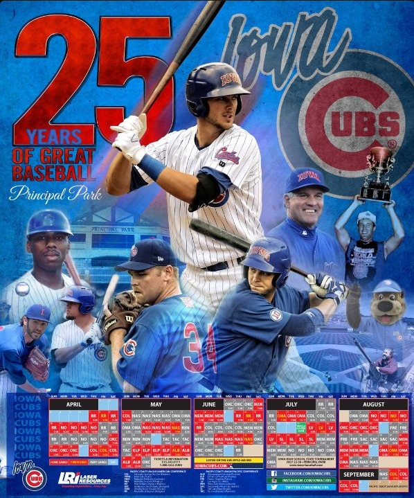 schedule poster - iowa cubs - 4-11-2016