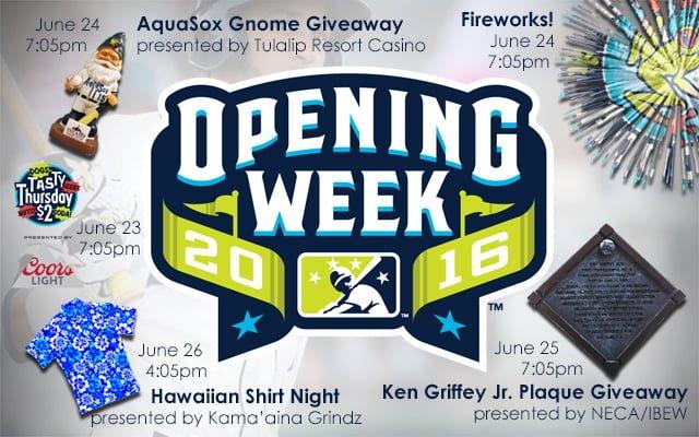 Everett AquaSox Openning Week Giveaways