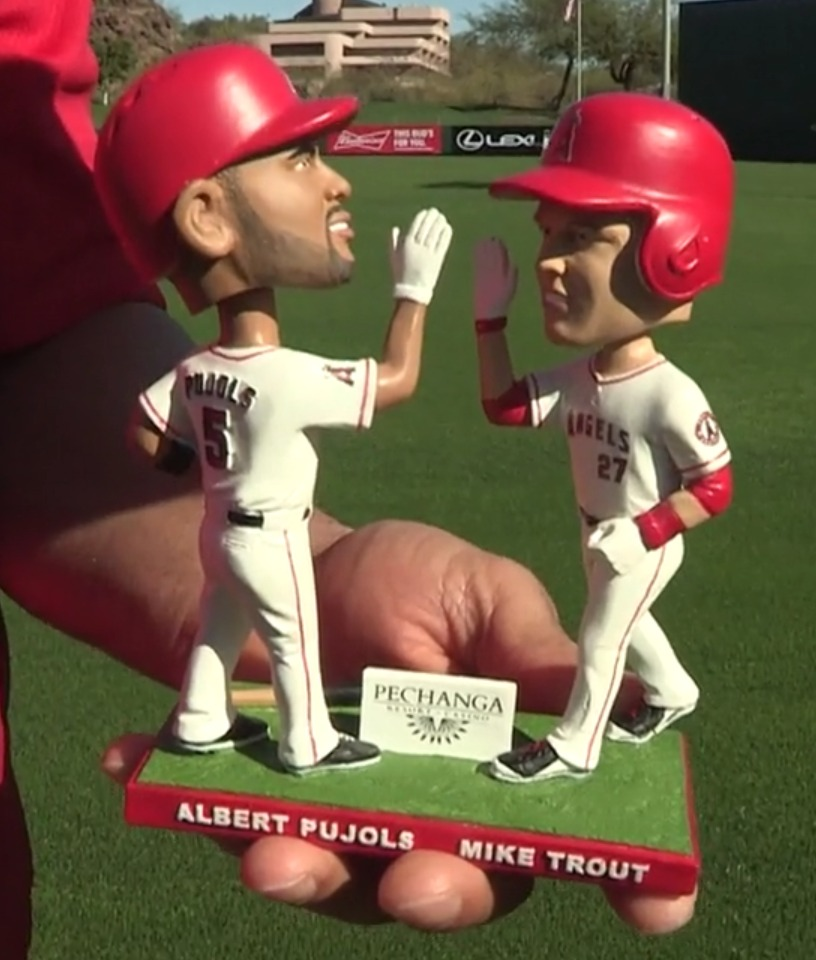 Pujols and Trout Bobblehead - Los Angeles Angels - 4-7-2016