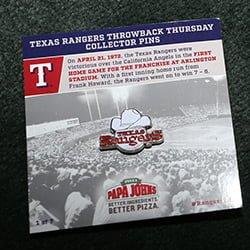 Texas Rangers hrowback Thursday Collector Pin 4-14-2016