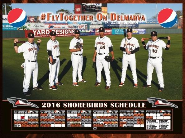 schedule poster - delmarva shorebirds - 4-29-2016