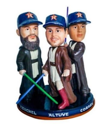 Houston Astros Jedi Council Triple Bobblehead featuring Altuve Correa and Keuchel 6-17-2016