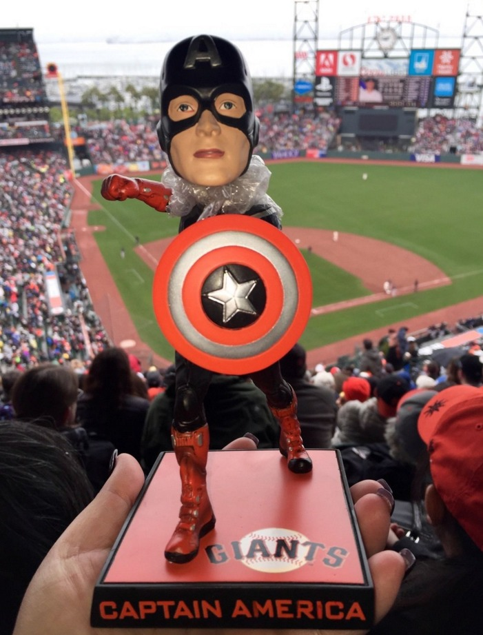 captain america bobblehead - san francisco giants - 5-7-2016