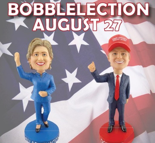 Clinton and Trump Bobbleheads - Mahoning Valley Scrappers - 8-27-2016