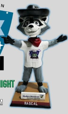 Quad Cities River Bandits Rascal Bobblehead 6-14-2016
