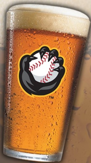 pint glass - quad cities river bandits - 8-27-2016
