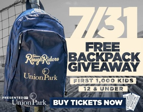 backpack - frisco roughriders - 7-31-2016