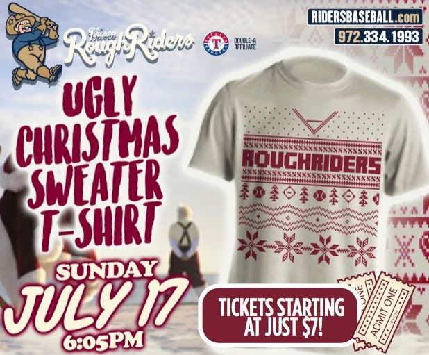 ugly christmas tshirt - frisco roughriders - 7-17-2016