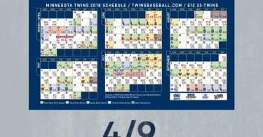 April 9-11, 2018 Minnesota Twins – Photo Magnet Schedule