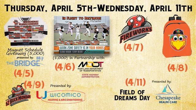 Delmarva Shorebirds 2018 Promotional Stadium Giveaways