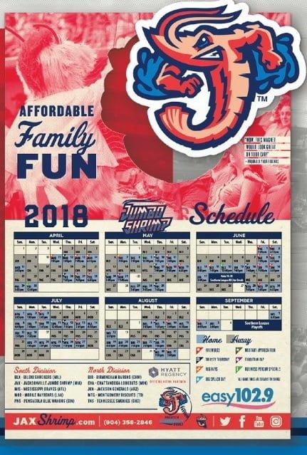 Jacksonville Jumbo Shrimp Magnet Schedule 4-11-2018