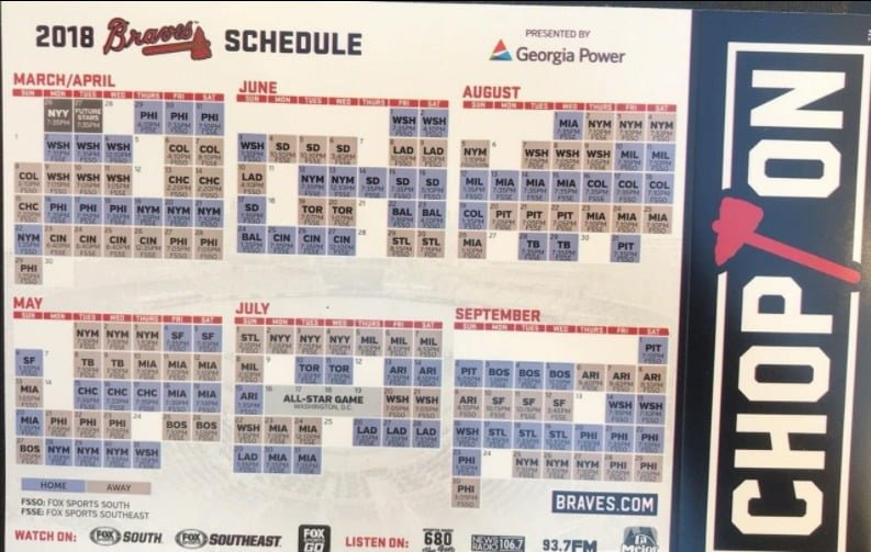 picture about Braves Printable Schedule called Atlanta braves sport dwelling plan 2017