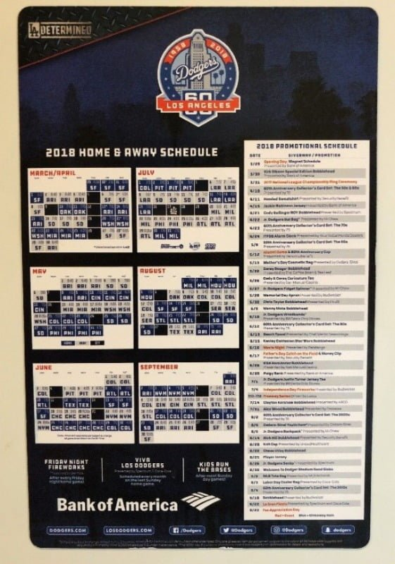 Dodgers Promotional Schedule 2019 March 29, 2018 Los Angeles Dodgers   MagSchedule   Stadium