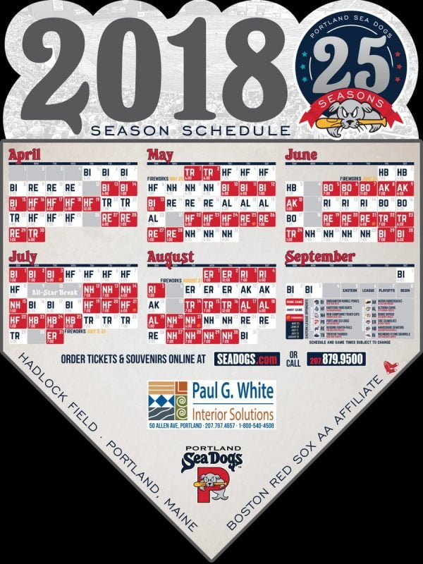 Portland Sea Dogs Schedule Magnet 2018