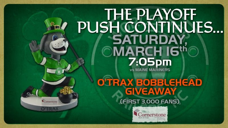Worcester Railers Trax St Patty's Day Bobblehead