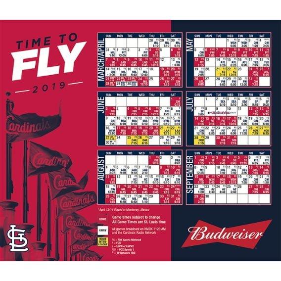 2019 Cardinals Magnet Schedule