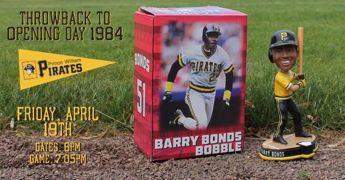 1985 Throwback Barry Bonds Prince William Pirates Bobblehead