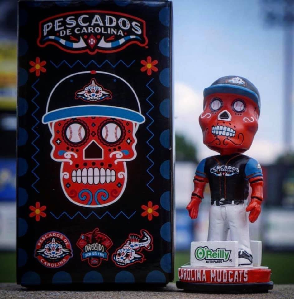 Carolina Mud Cats Sugar Skull Bobblehead