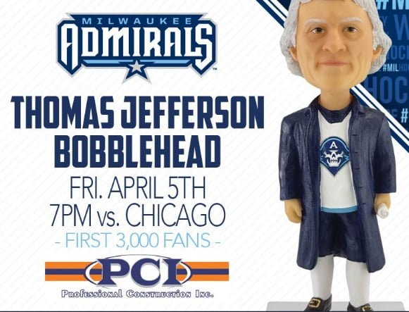 Milwaukee Admirals Thomas Jefferson Bobblehead