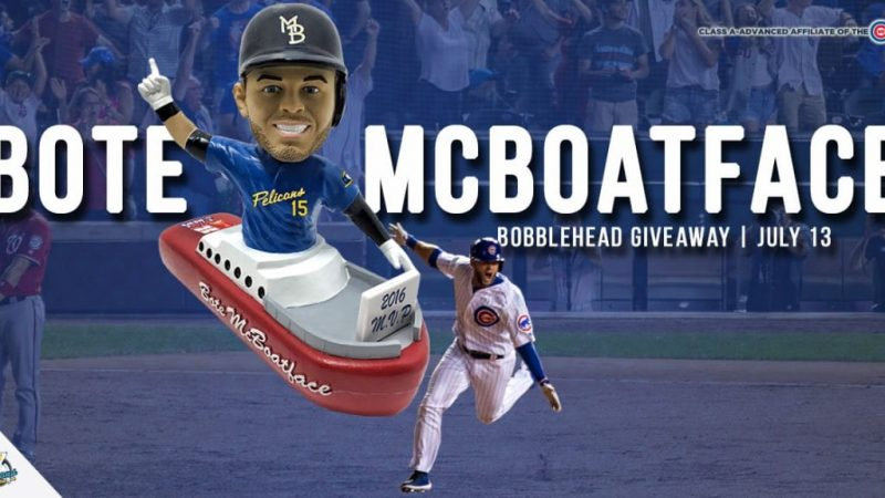 Myrtle Beach Pelicans David Bote McBoatface bobblehead