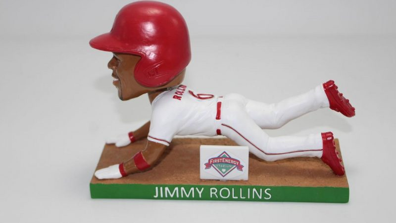 Reading Fightin Jimmy Rollins Sliding Bobblehead 8-6-2019